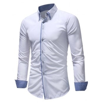 Patchwork Button Down Double Layer Collar Shirt