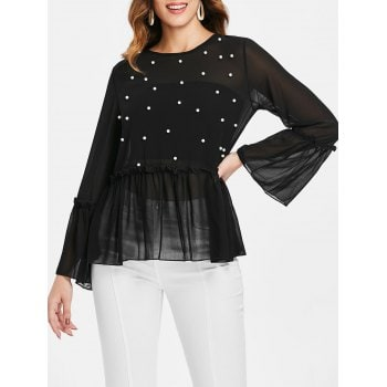 Long Sleeve Beading Blouse