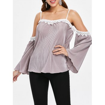 Cut Out Shoulder Plicated Blouse