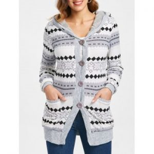 Button Up Hooded Cardigan