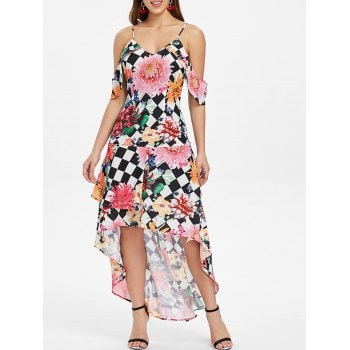Floral Checked Asymmetrical Long Dress