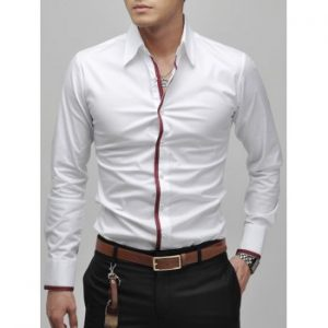 Slimming Lapel Striped Hem Long Sleeve Cotton Blend Casual Shirt