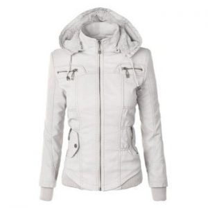 Hooded Solid Color Detachable Sleeve Faux Leather Jacket For Women