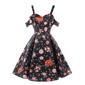 Shoulder Cut Flower Dress