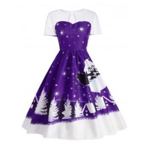 Santa Claus Deer Christmas Vintage Dress