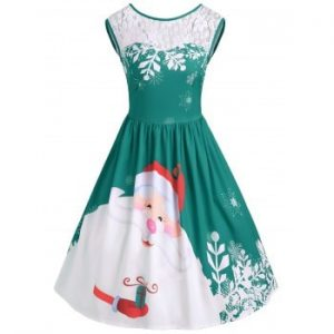 Lace Insert Santa Claus Print Party Dress