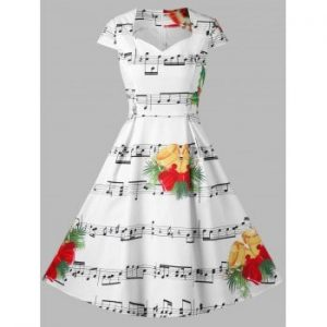 Bell and Music Note Print Dress