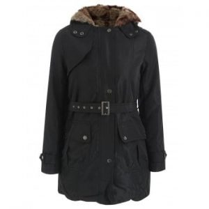 Long Sleeves Hooded Thickened Lined Waistband Beam Waist Pockets Korean Style Casual Coat