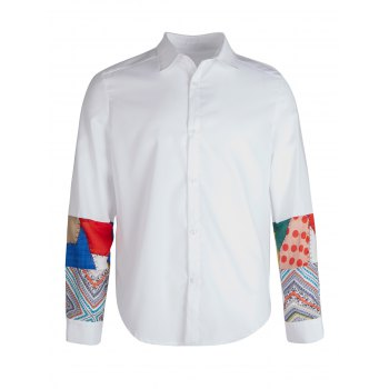 Long Sleeve Splicing Vintage Shirt