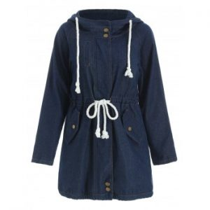 Hooded Long Sleeve Drawstring Mid Length Coat