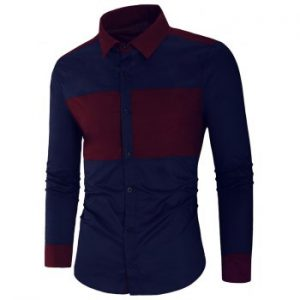 Panel Button Up Casual Shirt