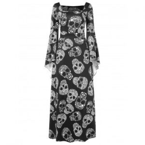 Halloween Skulls Print Maxi Dress
