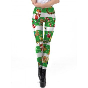 Womens Sexy Christmas Print Active Workout Stretch Footless Leggings