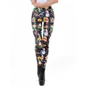 Womens Digital Print Ugly Christmas Stretched Leggings Tights