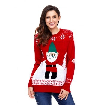 Christmas Santa Claus pattern pullover sweater knitting sweater