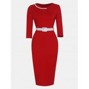 Women Fashion Round Neck and 3 4 Sleeves With belt Bodycon Dress