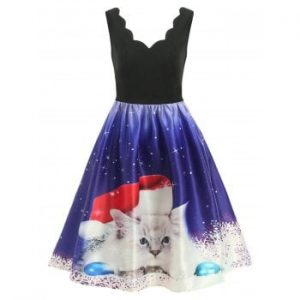 Christmas White Cat Dress