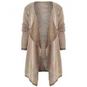 Collarless Long Sleeve Knitted Cardigan