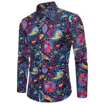 Colorized Patterning Printed Casual Shirt