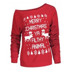 Letter and Snowflake Print Pullover Christmas Sweatshirt
