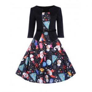 Hepburn Vintage Series Women Dress Spring And Summer Round Neck Christmas Printing Design 3 4 Sleeve Belt Corset Dress