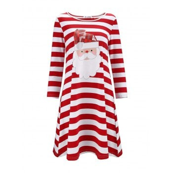 Plus Size Christmas Print Stripe Casual Dress