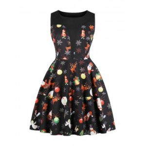 Hepburn Vintage Series  Dress Spring And Summer Round Neck Christmas Printing Design Sleeveless Corset Women Dress