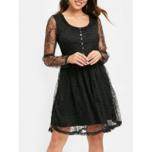 Spider Web Lace Flare Dress