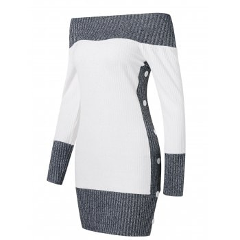 Contrast Color Knitted Dress
