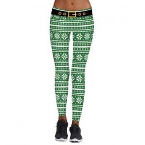 Womens 3D Digital Print Christmas Casual Pants Yoga Leggings