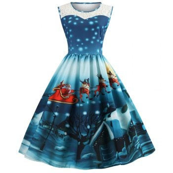 Womens Christmas Gifts Santa Claus Print Lace Retro Round Neck Sleeveless Swing Party Dresses