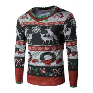 Men s T shirt 3D Personalized Print Fashion Christmas Elk Pattern Long sleeved