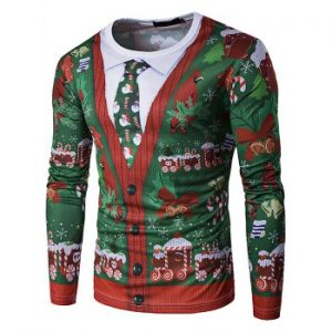 Christmas Tree 3D Fake Two piece Tie Printing Men Long sleeved T shirt