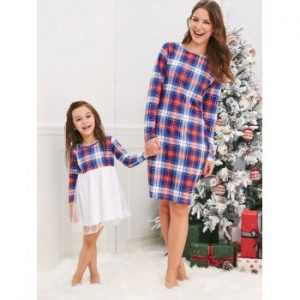 Christmas Mother Daughter Plaid Dress