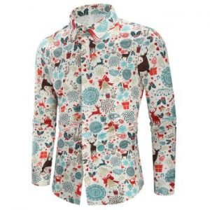 Christmas Print Casual Shirt