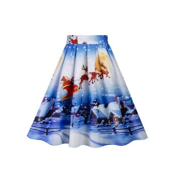 Hepburn Vintage Series Women Skirt Spring And Summer Christmas Printing Design Corset Retro Skirt