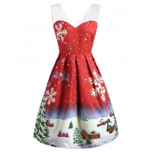 Christmas Snowflake Print Lace Insert Dress