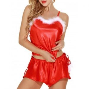 Two Piece Feathers Santa Babydoll Lingerie