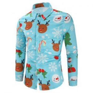 Christmas Candy Snowflakes Elk Print Casual Shirt