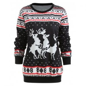 Christmas Elk Print Long Sleeve Sweatshirt