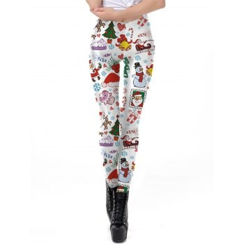 Womens Christmas Leggings 3D Design Printing Elastic  Pants