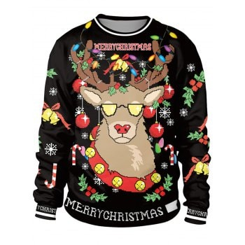 Unisex Funny 3D Graphic Print Reindeer Christmas  Sweatshirt for Xmas Party