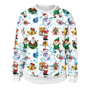 Christmas Sweater x Naughty or Nice 3D Sublimation print  Crewneck Sweatshirts For Women Men