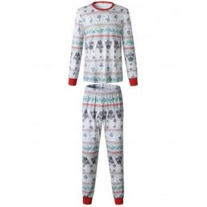 Christmas  Family Pajama Long Sleeves Casual  Print  Sets Parent Child Home Suit Pyjamas