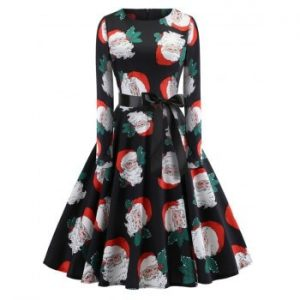Hepburn Vintage Series Women Dress Spring And Summer Round Neck Christmas Printing Design Long Sleeve Belt Corset Dress