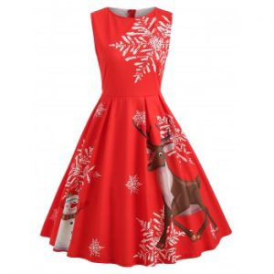 Christmas Elk and Snowflake Print Dress