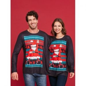 Two Person Long Sleeve Christmas T shirt