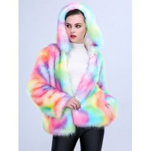 One piece Women Long Plush Fur Coat