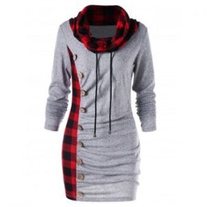 Cowl Neck Plaid Sweatshirt Dress