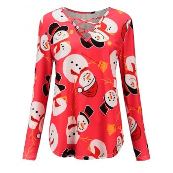 Womens Long Sleeve Blouse Christmas Printed Tunic T Shirt Tops